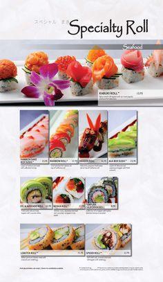 Main Menu | Kabuki Restaurant Dragon Roll, Avocado Roll, Main Menu, Food Menu, Creative Food, Japanese Food, Sushi, Seafood