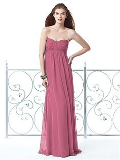 DESSY COLLECTION STYLE 2835 $244.00 Strapless full-length lux chiffon bridesmaid dress with empire waist and shirred bodice and panel over a-line skirt. Sizes available 00-30W, and 00-30W extra length. Coordinating junior bridesmaid dress avaialble in sizes 6jb-14jb as style JR835.  Dresses for bridal party  http://www.modelbride.com/Dessy-Collection-Style-283520130510065321-Prodview.html