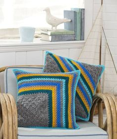 Striped Pillow Duo. Will do in different colors.Like the pattern.