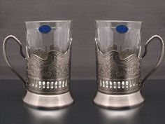 """Combination of 2 Russian """"Graneniy"""" Square Faceted Drinking Tea Glasses W/metal Glass Holders """"Podstakannik"""" for Hot or Cold Liquids Belarus,http://www.amazon.com/dp/B009I3VL26/ref=cm_sw_r_pi_dp_e2lbtb0KYXJB4RHB"""