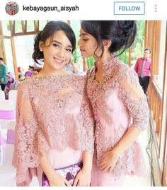 Tag Like and mention your friends Kebaya Lace, Kebaya Brokat, Kebaya Dress, Batik Kebaya, Batik Dress, Kebaya Pink, Gaun Dress, Dress Brokat, Modern Filipiniana Dress