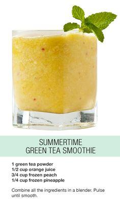 Enjoying this green tea smoothie on this gorgeous day!
