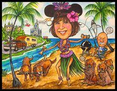 Custom caricature, retirement gift, retirement women, retirement men, cartoon portrait, caricature portrait, family cartoon, family by LaughingPencilsArt on Etsy