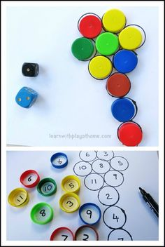 Fun Bottle Top Addition Game. Playful Maths