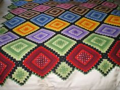Vintage Crochet Granny Square Afghan Throw Blanket Multi Color