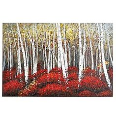 Red Birch Trees Art, a beautiful canvas wall decor.