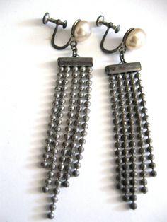 Vintage Art Deco Earrings Dangling Silver by ErmaJewelsVintage, $35.00