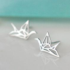 Pendientes de plata en forma de pájaro de origami                                                                                                                                                                                 Más