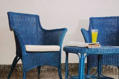 Sustainable and eco friendly furniture. Blue bamboo furniture. Chairs and low table. Woodstruck, Striking designs in eco-friendly furniture by Khadija and Ziad |The Keybunch Decor Blog |