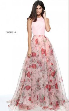 Sherri Hill 51201 Fabulous Rose Floral Print Organza Prom Dress