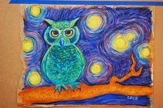 Art Room Blog: 3rd Grade Owl Starry Night...