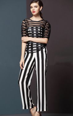Black White Vertical Stripe Jumpsuits With Striped Mesh Yoke Top