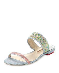 X32D0 Sophia Webster Adaline Dreamy Crystal Flat Slide Sandal, Pink/Blue