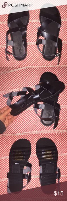 Black American Eagle Strappy Sandals Brand new, never worn AEO sandals. They are leather and black. Size 8 American Eagle Outfitters Shoes Sandals