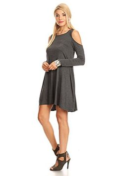 Nice Nelly Aura Open Shoulder Tunic Shift Dress Swing Top Shirt Blouse Flowy Long Sleeve - MADE IN USA - All Sizes + Colors (Medium, Charcoal) price Check more at http://fashion-land.top/product/nelly-aura-open-shoulder-tunic-shift-dress-swing-top-shirt-blouse-flowy-long-sleeve-made-in-usa-all-sizes-colors-medium-charcoal-price/