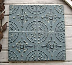 Vintage Tin Ceiling Tile. Circa 1910. 2'x2'  Framed and ready to hang.   by DriveInService, $59.00