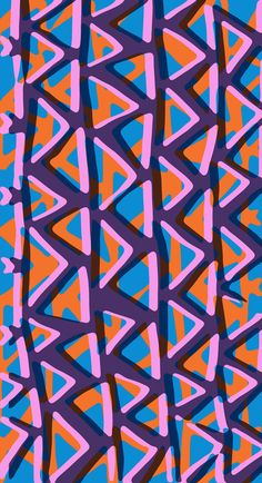 Purple, orange and blue vertical triangle pattern - Sarah Bagshaw