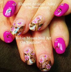 Nail Art Up for Monday! #nails #flower #prom #prom2015 #trend #trendy #pink #daisy #daisies #vintage #glitter #elegant #flowers #diy #howto #nail #art #tutorial #design