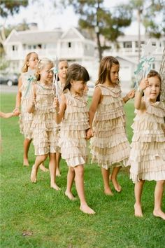 Nine Flower Girls is Better than One. Stealing My Heart. Flower Girls Stick Together. Flower Girls Love the Bride. Flower Girls, Flower Girl Basket, Flower Girl Dresses, Ruffled Dresses, Décoration Baby Shower, Wedding With Kids, Colored Wedding Dresses, Little Girl Dresses, Girls Dresses