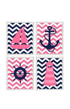 Nautical Nursery Chevron Art Print Set - Navy Blue Hot Pink - Anchor Sailboat Lighthouse Wheel - Baby Girl - Wall Art Home Decor Set 4 8x10