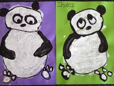 A great ida for 5 year olds.  They paint circles of white, let it dry then outline their panda (armless) using poster pain in a squeezy bottle. Then pain in arms and ears.