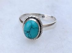 Turquoise ring sterling silver ring stone ring silver by avicraft Turquoise Birthstone, Turquoise Rings, Turquoise Stone, Blue Opal Ring, Blue Rings, Boho Jewelry, Jewellery, Jewelry Rings, Stone Jewelry