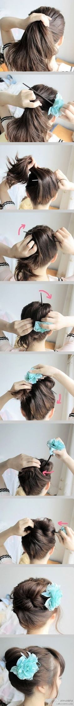 diy updo hair style, I always do this with a pencil.I just need to glue a flower to it lol! Bun Hairstyles, Pretty Hairstyles, Easy Hairstyle, Wedding Hairstyles, Chopstick Hair, Hair Sticks, Tips Belleza, Hair Dos, Gorgeous Hair