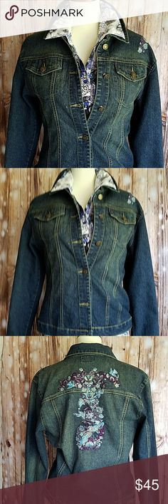 Yoy Ladies Denim Jacket Excellent Ladies dark wash denim jacket. Embroidered embellishment in blues, purple and silver on left front shoulder and  center back. Unlined warm jacket eith turn up cuffs. Ready for Fall and Winter! Yoy Jackets & Coats
