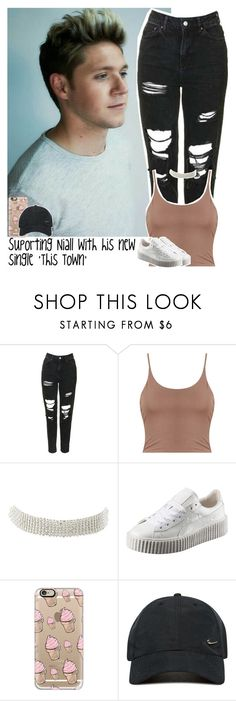 """""""Suporting Niall with his new single 'This Town'"""" by lottieaf ❤ liked on Polyvore featuring Topshop, Charlotte Russe, Puma, Casetify, NIKE, OneDirection and NiallHoran"""