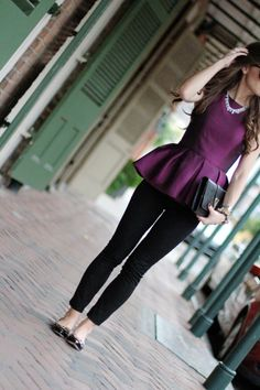 Love peplum tops and this color would be great with my hair! The only thing I don't love is the necklace - not my style.