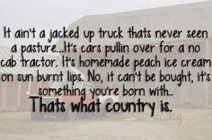 It ain't a jacked up truck that's never seen a pasture.its cars pullin over for a no cab tractor. It's homemade peach ice cream on sun burnt lips. No, it can't be bought, it's something you're born with.thats what country is. Country Strong, Country Boys, Country Life, Country Music Quotes, Country Lyrics, Everything Country, This Is Your Life, Luke Bryan, Music Lyrics