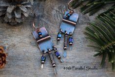 Copper Foldform Earrings Blue Boho Earrings by 45thParallelStudio