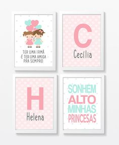 Quadros infantil Irmãs Meninas Balões no D House, Creative Workshop, Learning Spaces, Alphabet And Numbers, Candy Colors, Kids Bedroom, Your Child, Baby Room, Decoration
