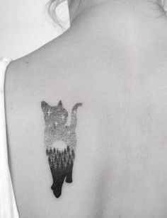 Landscape cat tattoo by Jakub Nowicz #CatTattoo #UltraCoolTattoos