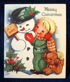 Snowman Boy Cocker Spaniel Puppy Dog by Eva Harta--Vintage 50s Christmas Card!