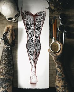 idea for a full leg-sleeves with mandala and sacred geometry Back Of Leg Tattoos, Girl Leg Tattoos, Sleeve Tattoos For Women, Body Art Tattoos, Arabic Tattoos, Mandela Tattoo, Sacred Geometry Tattoo, Leg Sleeve Tattoo, Full Body Tattoo