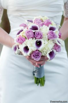 Elegant Ivory Purple White Bouquet Wedding Flowers Photos & Pictures - WeddingWire.com