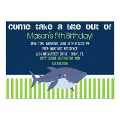 Shop Shark Invitation created by ISA_MILA. Kids Beach Party, Beach Kids, Pool Party Birthday Invitations, Kids Party Themes, Party Ideas, Nautical Party, Shark Party, Age, Childrens Party