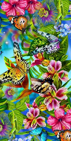 Orchids and butterflies together: illustration