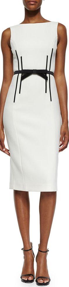 Michael Kors Sleeveless Sheath Dress w/Bow Belt. #women #fashion outfit #clothing style apparel @roressclothes closet ideas