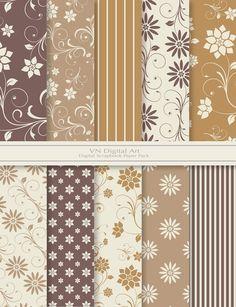 Flourish Floral Digital Scrapbook Paper Pack por VNdigitalart, $3.00