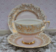 Royal Standard Tea Trio - Tea Cup, Saucer, Tea Plate, Vintage, English Pale Pink and Gilt Bone China, Excellent Condition by ImagineHowCharming on Etsy
