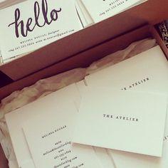 New black & white letterpress business cards by Melissa Noucas