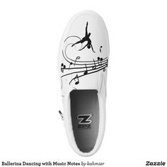Ballerina Dancing with Music Notes Slip-On Sneakers