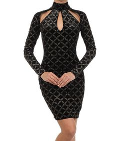 Take a look at this Va Va Voom Black & Gold Crisscross Long-Sleeve Cutout Dress on zulily today!