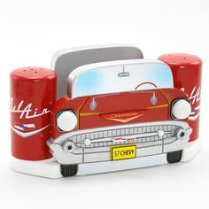 57 Chevy Tableware Set - Napkin and Salt and Pepper Shaker Set