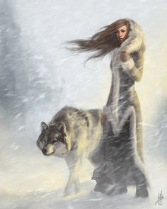 Drawing Anime Diamond Painting Woman and the Wolf Blizzard Kit - Character Inspiration, Character Art, Wolf Eyes, Fantasy Artwork, Fantasy World, Fantasy Art Women, Arya Stark, Mythical Creatures, Fantasy Characters
