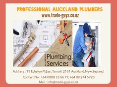 As plumbing demand specific skills, Auckland plumbers use specific tools which are not available to the home owner or a local plumbing handyman.