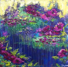 Floral Impressionist Landscape Painting - Floral Rhapsody by Julie Janney Landscape Paintings, Impressionist Landscape, Flower Paintings, Acrylic Paintings, Oil Paintings, Flower Canvas Art, Art For Art Sake, Abstract Flowers, Diy Wall Art