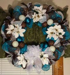 Turquoise and chocolate brown deco mesh Christmas door wreath.